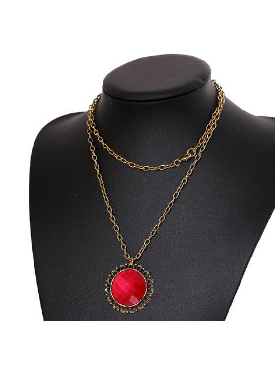 unique Fashion Women's Round Red Rhinestone Design Necklace - COLOR ASSORTED