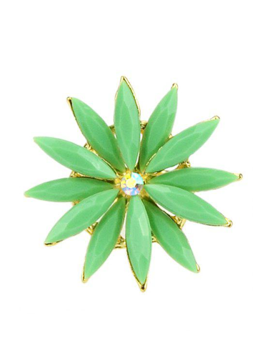 fashion Faux Gem Decorated Flower Ring - GREEN
