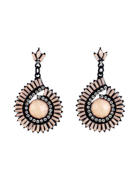 sale Pair of Faux Gem Round Earrings - PINK