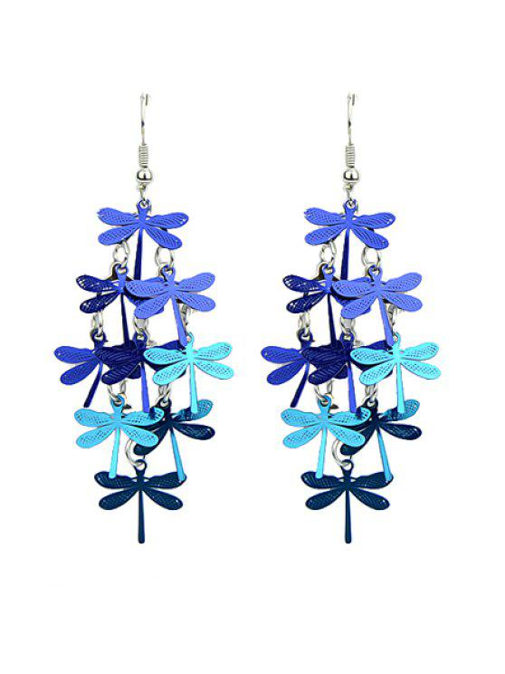 ladies Pair of Dragonfly Pendant Earrings - BLUE