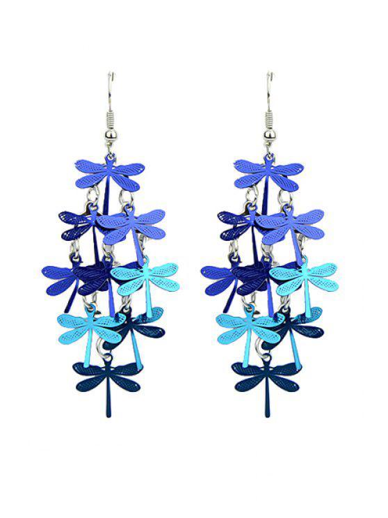 ladies Pair of Dragonfly Pendant Earrings - BLUE