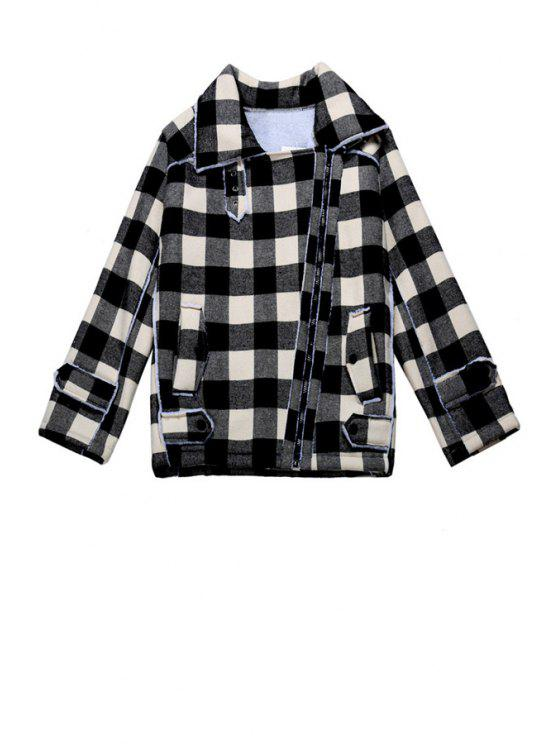 trendy Plaid Turn-Down Collar Jacket - WHITE ONE SIZE(FIT SIZE XS TO M)