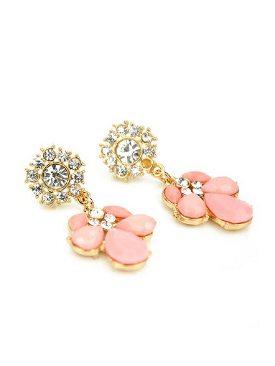 best Pair of Faux Gem and Rhinestone Earrings - PINK