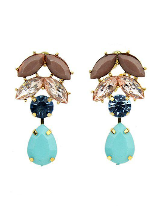 outfit Pair of Faux Gemstone Pendant Earrings - BLUE