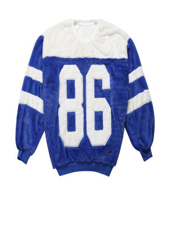 online Letter Pattern Color Block Sweatshirt - BLUE ONE SIZE(FIT SIZE XS TO M)