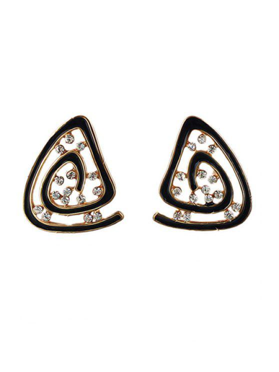 outfits Pair of Rhinestone Geometric Earrings - BLACK