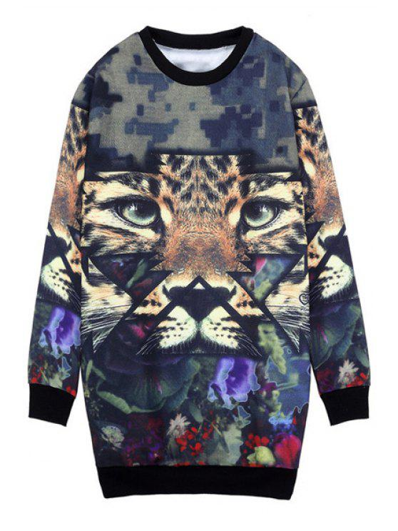 outfit Round Collar Tiger Print Sweatshirt - COLORMIX ONE SIZE(FIT SIZE XS TO M)
