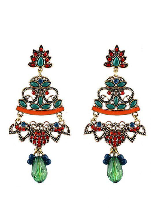 fancy Pair of Rhinestone Special Pendant Earrings - ORANGE