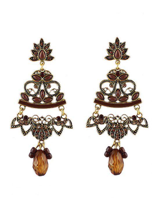 unique Pair of Rhinestone Special Pendant Earrings - COFFEE
