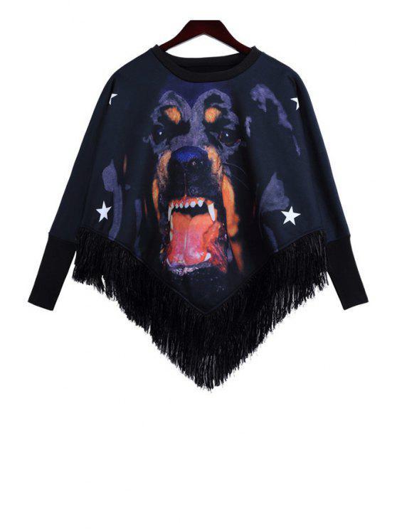 shops Dog Print Fringe Splicing Sweatshirt - BLACK ONE SIZE(FIT SIZE XS TO M)