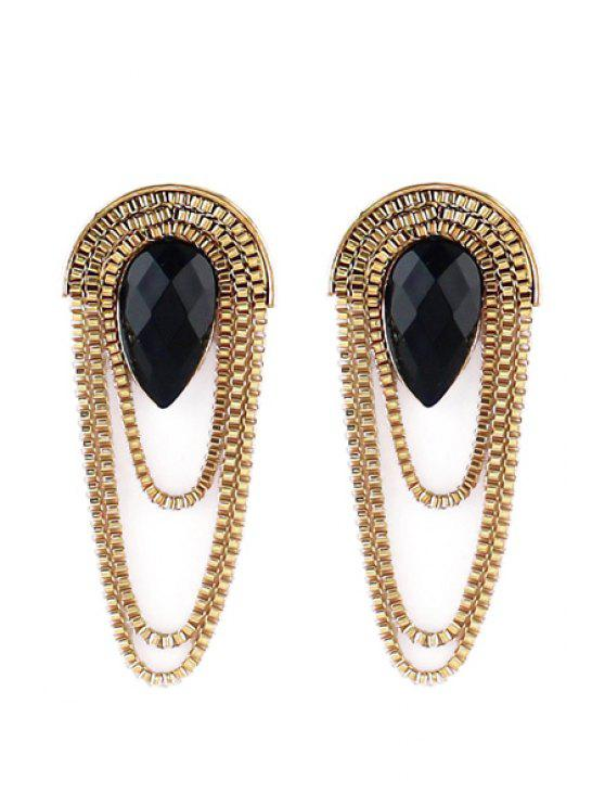 lady Pair of Tassel Decorated Earrings - BLACK AND GOLDEN