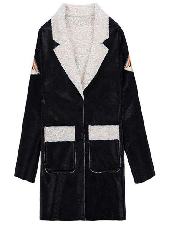 buy Eagle Print Lapel Neck Coat - BLACK ONE SIZE(FIT SIZE XS TO M)
