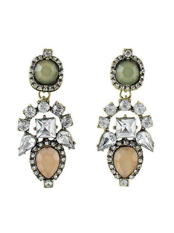 shops Pair of Colorful Gemstone Earrings - PINK