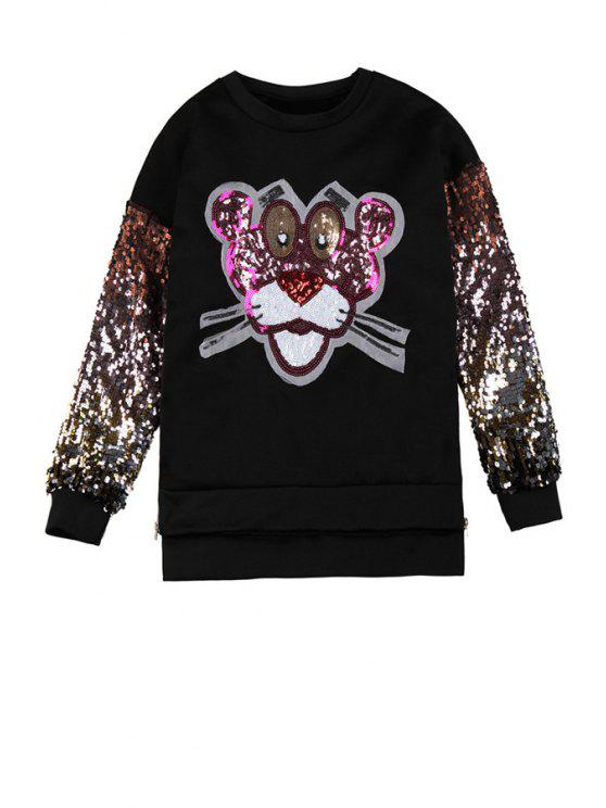 trendy Tiger Sequins Pattern Sweatshirt - BLACK ONE SIZE(FIT SIZE XS TO M)