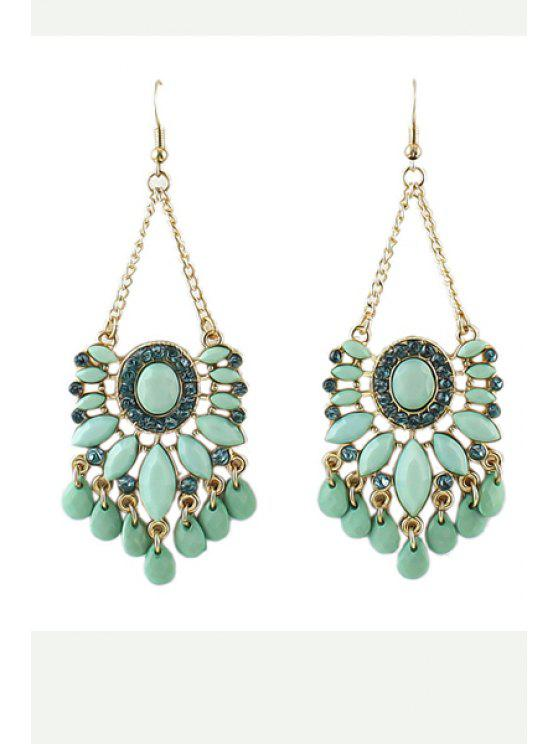 buy Pair of Faux Gem Earrings - GREEN