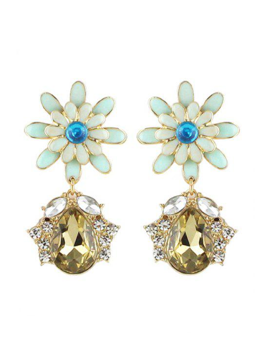 womens Pair of Gemstone Flower Pendant Earrings - COLORMIX