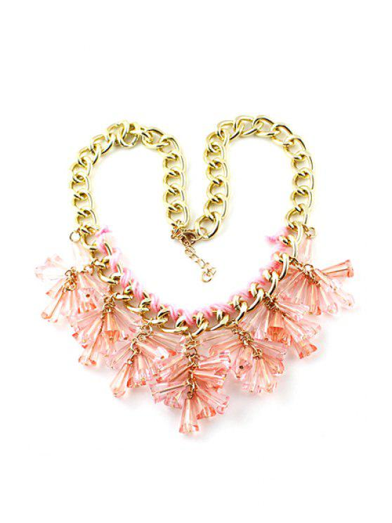 lady Resin Decorated Pendant Necklace - PINK