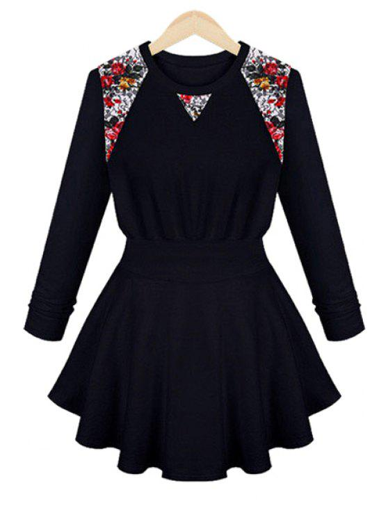chic Floral Lace Long Sleeve Dress - CADETBLUE L