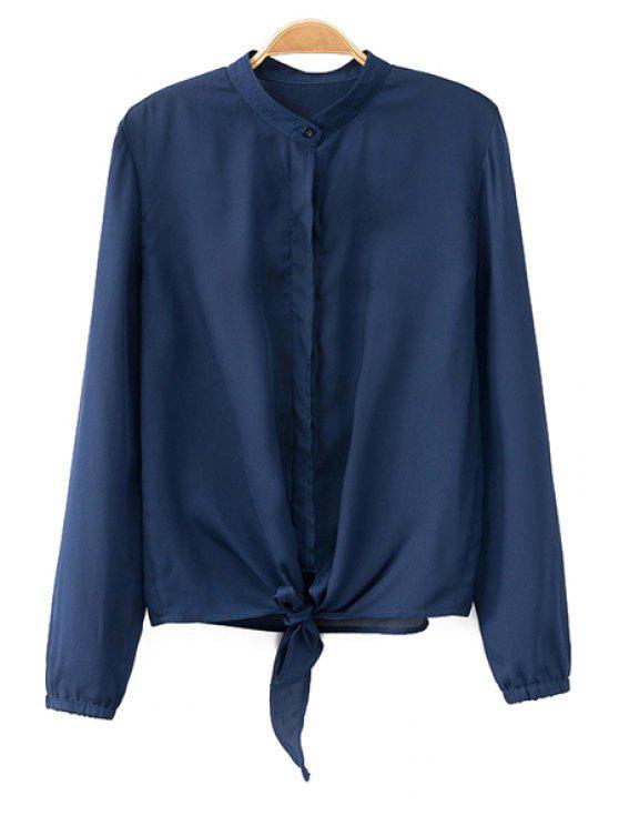 fashion Front Tied Mandarin Collar Shirt - BLUE M