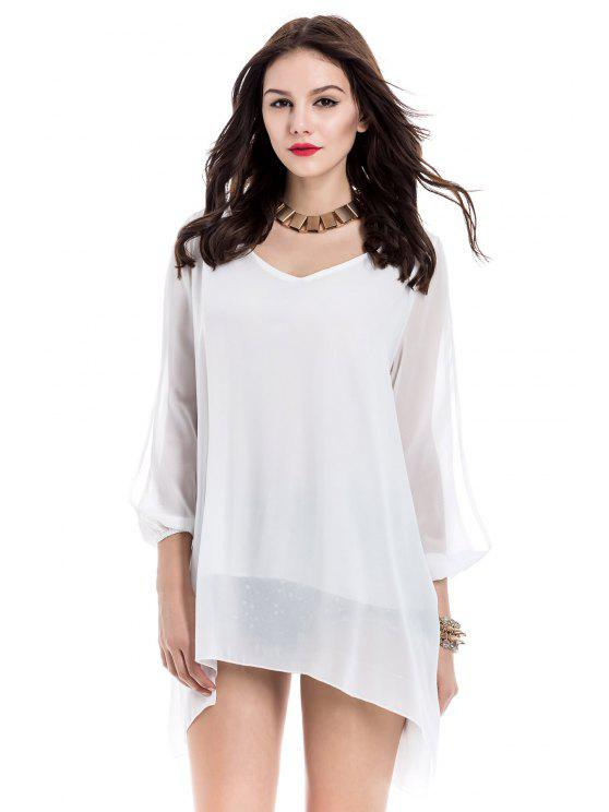 فستان طويلة الأكمام شيفون مستقيم - أبيض S