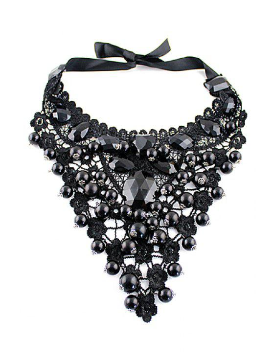 outfits Beads Embellished Necklace - BLACK