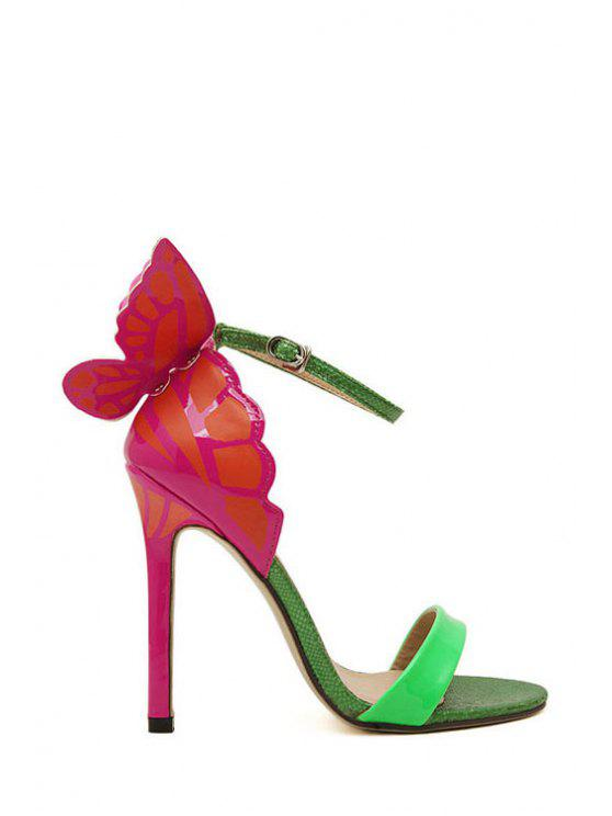 womens Butterfly Color Block Stiletto Heel Sandals - GREEN 37