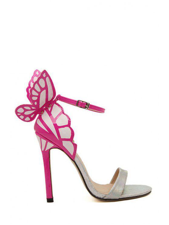 trendy Butterfly Color Block Stiletto Heel Sandals - SILVER 39