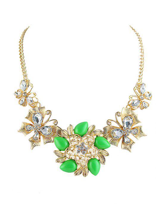 shop Gemstone Flower Pendant Necklace - GREEN