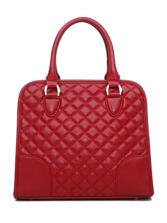 shop Checked Splice Zipper Tote Bag - RED