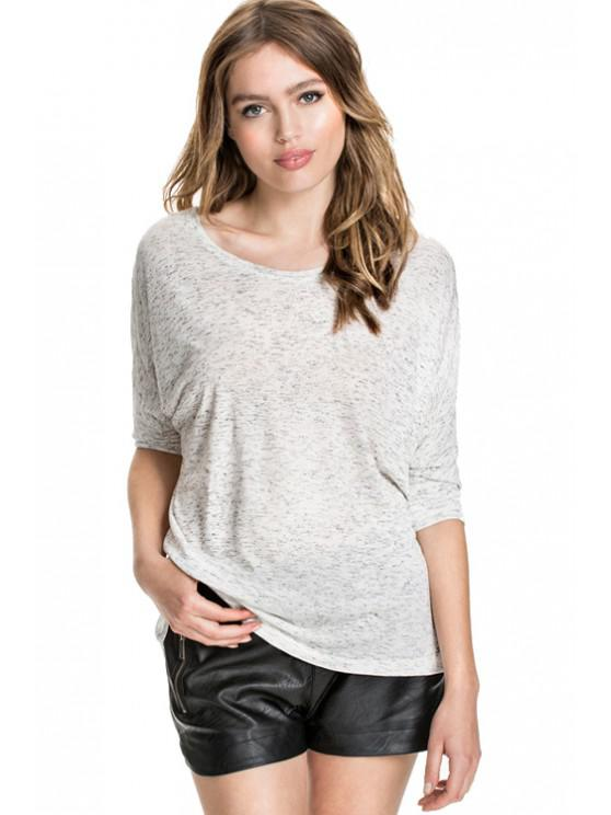 fashion Solid Color Bat-Wing Sleeve T-Shirt - GRAY XS