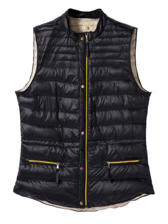 Stand Collar Solid Color Waistcoat - Schwarz M