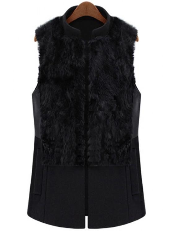 Faux Fur Splicing Waistcoat - Schwarz XL