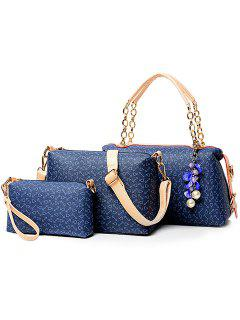 Graceful Floral Print And Chain Design Women's Tote Bag - Blue