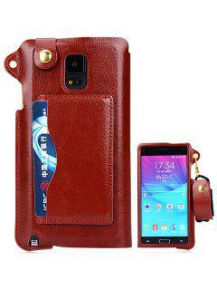 Caso De La Contraportada De Cuero Artificial Con Soporte Titular De La Tarjeta Y Cordón Para Samsung Galaxy Note4 N9100 - Marrón