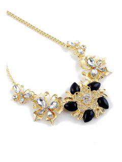 Gemstone Flower Pendant Necklace - Black