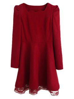 Solid Color Long Sleeve Dress For Women - 2xl