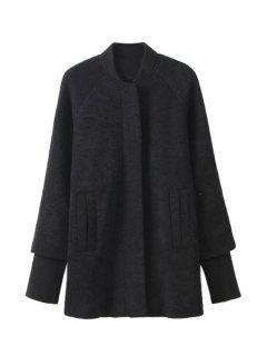 Splicing Long Sleeve Coat For Women - Black S