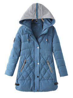 Zipper Draw Cord Long Sleeve Coat For Women - Light Blue L