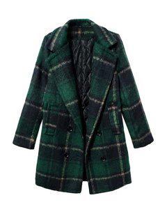 Tartan Long Sleeve Coat - Blackish Green Xl