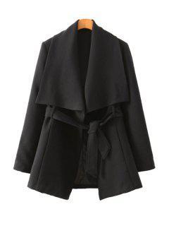 Solid Color Long Sleeve Belt Coat - Black S