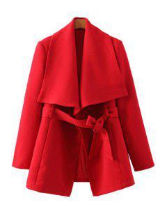 Solid Color Long Sleeve Belt Coat - Red L