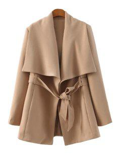 Solid Color Long Sleeve Belt Coat - Khaki L