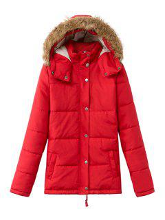 Solid Color Long Sleeve Faux Fur Splicing Coat - Red M