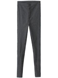 Striped Narrow Feet Flocking Pants - Black S