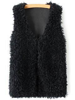 Lamb Wool V-Neck Sleeveless Waistcoat - Black 2xl