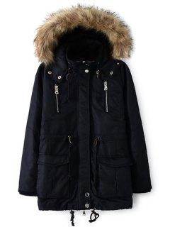 Solid Color Faux Fur Hooded Coat - Cadetblue S