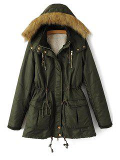 Solid Color Faux Fur Hooded Coat - Green L