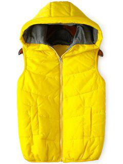 Solid Color Hooded Zipper Waistcoat - Yellow Xl