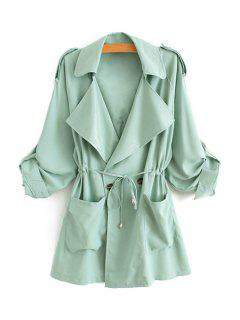 Solid Color Lapel Long Sleeve Trench Coat - Green L