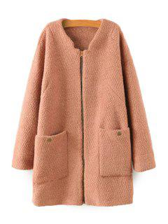 Solid Color Long Sleeve Coat - Camel M